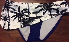Tommy Bahama Palm Trees Swim Bottom Sz. S Black, Blue, White  1st Quality NEW