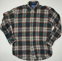 Pendleton Wool Plaid Button Down Shirt Made USA Green Red Beige Pocket Med VTG