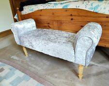 Large Silver Grey Crush Velvet Fabric Bed End / Window Seat Stool 100cm