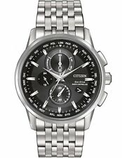 Citizen AT8110-53E Mens Eco-Drive World Chronograph AT Black Dial S.S. Watch