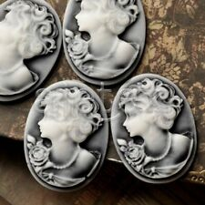4pcs Vintage Resin Flatback Cameo Lady Portrait 40x30x6mm Gray Free Shipping
