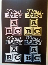 die cut baby christening baby shower card toppers 8 x New Baby//ABC blocks