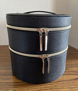 Lancome Cosmetic Makeup Bag Round Train Case Tote Black