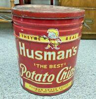 1950s Husman's Potato Chip Tin - JUMBO Size - 3lb Container