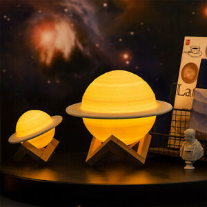 3D Printing Galaxy Saturn Lamp USB LED Night Light Moonlight Remote TouchSwitch