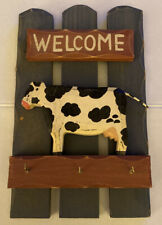 Rustic Wooden Wall Hanging Welcome Sign with Key Hooks (Cow Design)