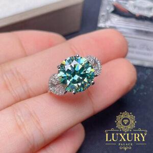5Ct Round Green Moissanite Vintage Engagement Ring 14K White Gold Finish