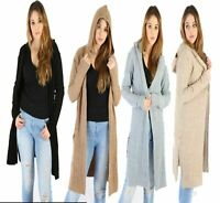 Ladies Cable Knitted Hooded Open Side Slit Pocket Midi Long Cardigan