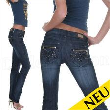NEU 🌸 Sexy DARK Blue DENIM Jeans MY VIVI Lurex STRASS ZIP Design 🌸 32
