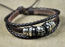 U06 Surfer Cool Leather Hemp Braided Bracelet Wristband Bangle Skull Bones Brown