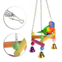 EG_ LC_ Pet Bird Parrot Parakeet Budgie Cage Hammock Swing Stand Hanging Toys Tr