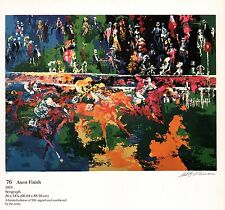 """LEROY NEIMAN BOOK PRINT """"ASCOT FINISH"""" COLORFUL HORSE RACE FAMED ENGLISH TRACK"""