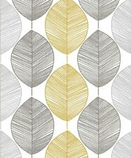 ARTHOUSE SCANDI LEAF YELLOW METALLIC GLITTER LUXURY TEXTURED  WALLPAPER 698401