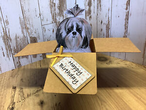 Shi Tzu Dog Birthday card, 3D Pop Up  Box Card, Handmade