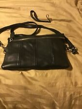 Black leather cross body bag with detachable handle. Retail $105 LF