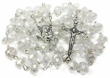 Catholic Rosary White Clear Beads Necklace with Holy Soil Medal  Metal Cross 17""
