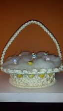 Vintage Hand Made Macrame Easter Basket With Macrame Grass ADORABLE