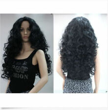 Charming Women Long Black Natural Curly Hair Daily Costume Party Heat Full Wigs