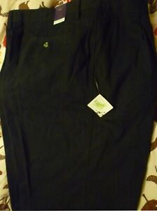 Front Pleated Chino Trousers Mens Black Cotton Twill Pants Henbury Teflon Coated
