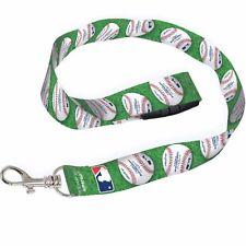 Green with White Rawling Baseballs Print Lanyard/Landyard ID Holder Keychain-New