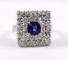 Cushion Cut Blue Sapphire & Diamond Square Solitaire Ring 14k White Gold 3.32Ct