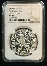 2017 Netherlands 1 oz Silver Lion Dollar Bullion Coin Dutch Mint Ngc Ms70 ~ Wow