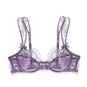 Varsbaby Sheer Lace See Through Bra Female Underwire Unlined Sexy Bralette
