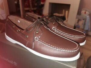 BNWT MENS DESIGNER TIMBERLAND FULL LEATHER LOAFER SHOES UK 9.5 RRP £110 BROWN