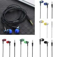 3,5 mm Nylon Webkabel In Ear Stereo Kopfhörer mit Mikrofon für Smartphones V3M7