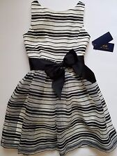 Ralph Lauren Girls Dress Lined Stripes Dressy Special Occasion Size 6  NWT