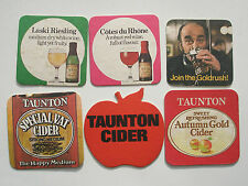 SIX ASSORTED BEERMATS (3 TAUNTON CIDER, 2 HOUSE WINE AND 1 ICE GOLDRUSH)