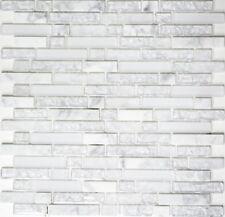 Glasmosaik Naturstein weiß mix Wand Küchenrückwand Bad WC Art:WB87-v1311|1 Matte