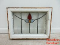Antique Stain Glass Window Petite Flame Rose
