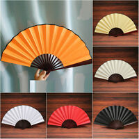 Japanese Dance Party Wedding Silk Bamboo Folding Hand Held Fan Solid Color Fan