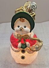 """Lady Snowman lighted ceramic Christmas Figure 9""""H w/Gold accents .home decor"""