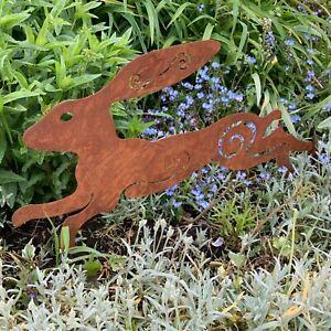 54cm Rusty Metal Running Hare Garden Sculpture Figurine Stake Rustic Rabbit