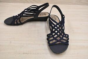 Naturalizer Remix Wedge Sandals, Women's Size 9.5 W, Navy NEW