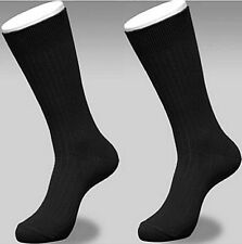 12 Pairs Mens BLACK Premium Ribbed COTTON Blend Dress Socks #1416B King 10-13