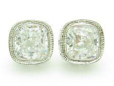 PLATINUM SILVER DIAMOND SET WHITE SAPPHIRE VINTAGE CUSHION CUT STUD EARRINGS NEW