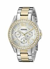Fossil Riley Watch Automatic Quartz Time Silver Gold Bracelet Band Strap Womens