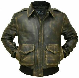 Mens Aviator A-2 Real Leather Vintage Black Distressed Bomber Flight Jacket