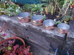 Lovely Set 4 French Vintage Copper Lined Pans  Ref MP/190b