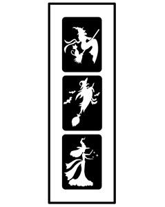 Glitzer Tattoo Schablonen 3 teilig Witch, Airbrush