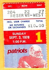 9/3/78 PATRIOTS/REDSKINS FOOTBALL TICKET STUB