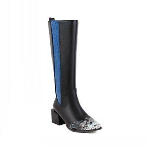 Women's Low Heel Square Toe Zipper Motor Casual Knee High Riding Boots Winter D