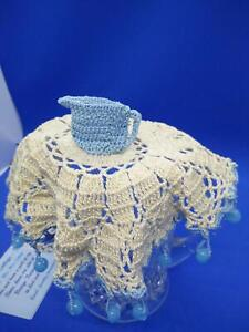 Charming Vintage Hand Crochet Beaded Cover  Blue Jug Sitting Atop!