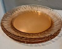 Four Vintage Pink Arcoroc Glass 8 3/4-inch Plates with Swirl Edge