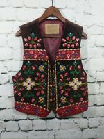 Hairston Roberson Vest Christmas Holiday Womens L Large Leather floral embroider