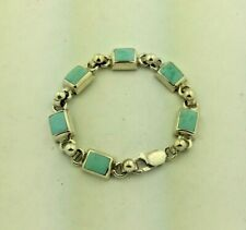Mexican Sterling Silver Turquoise Square Link Bracelet 6 1/2""