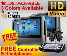 "2017 GRAY DUAL 9"" DIGITAL TOUCHSCREEN HEADREST LCD CAR MONITOR DVD PLAYER USB"